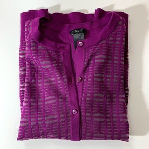 NWOT Ann Taylor Windowpane Cardigan Purple Small